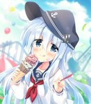 1girl :q amusement_park anchor_symbol balloon black_headwear black_legwear black_sailor_collar blue_eyes blue_hair blue_sky blurry blurry_background carousel closed_mouth cloud commentary_request day depth_of_field double_scoop flat_cap food food_on_face hat head_tilt hibiki_(kantai_collection) highres hizuki_yayoi holding holding_food ice_cream ice_cream_cone ice_cream_on_face kantai_collection long_hair long_sleeves looking_at_viewer neckerchief outdoors red_neckwear roller_coaster sailor_collar school_uniform serafuku shirt silver_hair sky smile solo spoon tongue tongue_out upper_body very_long_hair white_shirt