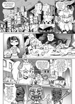1girl armor ball bangs bowsette breasts building city collar comic crown curly_hair earrings english_text fangs glasses greyscale helmet highres holding holding_ball holding_weapon jewelry left-to-right_manga long_hair mario_(series) md5_mismatch monochrome monty_mole new_super_mario_bros._u_deluxe one_side_up polearm ponytail short_hair spear spiked_armlet spiked_collar spiked_shell spikes super_crown tail tony_kuusisto turtle_shell weapon