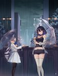 2girls ahoge aliceblue artist_name bandaged_arm bandages bangs bare_shoulders belt black_choker black_hair black_legwear black_shirt black_shorts blue_hair blush boyshorts breasts bronya_zaychik building camisole choker cityscape cleavage collarbone commentary_request crossed_bangs drill_hair grey_eyes grin hair_between_eyes hair_ornament hand_up highres holding holding_umbrella honkai_(series) honkai_impact_3rd jacket lamppost long_hair long_sleeves looking_at_viewer medium_breasts midriff multicolored_hair multiple_girls night off_shoulder open_clothes open_jacket open_shirt outdoors parasol pleated_skirt purple_eyes rain school_uniform see-through seele_vollerei shirt short_hair short_shorts shorts sidelocks silver_hair skirt sleeveless sleeveless_shirt smile standing striped striped_legwear tank_top tattoo thighhighs thighs transparent transparent_umbrella twin_drills twintails two-tone_hair umbrella water wet wet_clothes white_jacket white_legwear white_shirt white_skirt