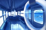 bird blue cloud commentary ground_vehicle highres horizon no_humans ocean original perspective reflection scenery seagull see-through sunlight train train_interior water