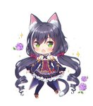 1girl animal_ear_fluff animal_ears bangs bare_shoulders black_hair black_legwear blue_sleeves blush bow brown_footwear cat_ears cat_girl cat_tail chestnut_mouth chibi commentary detached_sleeves eyebrows_visible_through_hair fang flower foreign_blue frilled_skirt frills full_body green_eyes hair_between_eyes hair_bow kyaru_(princess_connect) long_hair long_sleeves low_twintails multicolored_hair open_mouth pantyhose princess_connect! princess_connect!_re:dive purple_flower purple_rose purple_skirt red_bow rose shirt shoes simple_background skirt sleeveless sleeveless_shirt sleeves_past_wrists solo sparkle streaked_hair tail twintails very_long_hair white_background white_hair white_shirt