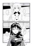 ... 2girls breasts cleavage comic corset cross cross_necklace earrings greyscale hair_between_eyes hair_ornament hand_behind_head jewelry kuma_(bloodycolor) monochrome multiple_girls necklace older open_mouth petals ruby_rose rwby sample scar scar_across_eye side_ponytail spoken_ellipsis time_paradox translated weiss_schnee