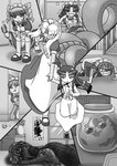 6+girls animal_ears apron ball cat_ears comic commentary cuey_c_lops dress drill_hair fangs highres in_container jar lamia maid maid_apron maid_headdress mecha_musume mechanical_arms monochrome monster_girl multiple_girls open_mouth original pointy_ears puffy_short_sleeves puffy_sleeves pulling rakurakutei_ramen ran_straherz running short_sleeves tears thumbs_up twin_drills two_side_up zombie