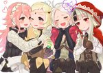 4girls animal_ears black_hair blonde_hair braid bridal_gauntlets brown_gloves closed_eyes commentary_request drooling eponine_(fire_emblem_if) fire_emblem fire_emblem_if fujoshi gem gloves grey_eyes grey_hair hairband hands_on_own_face heart highres holding hood hood_up imagining interlocked_mars_symbols long_hair long_sleeves multicolored_hair multiple_girls one_eye_closed open_mouth ophelia_(fire_emblem_if) pink_hair red_eyes sakuramotikun simple_background sitting soleil_(fire_emblem_if) streaked_hair twin_braids velour_(fire_emblem_if) white_background white_hair wolf_ears yuri