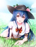1girl :d baileys_(tranquillity650) black_hat blouse blue_hair blue_skirt blue_sky bow bowtie food fruit grass hat highres hinanawi_tenshi long_hair looking_at_viewer lying on_stomach open_mouth outdoors peach puffy_short_sleeves puffy_sleeves red_bow red_eyes red_neckwear shirt short_sleeves signature skirt sky smile solo touhou white_shirt