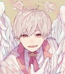 1boy angel_wings commentary_request face fang flower gloves hagi_(mtmtmkn0113) hair_between_eyes halo highres jacket male_focus necktie original pink_eyes rose shirt short_hair simple_background solo striped_jacket white_flower white_gloves white_hair white_rose white_shirt white_wings wings
