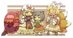 3girls :d :o animal_ears back bangs black_eyes black_hair blank_eyes blonde_hair blush boots bow broken_plate brown_background cat_ears cat_tail chen covered_mouth crescent dress earrings fox_tail frills gap hair_bow hat hat_bow hat_removed headwear_removed holding holding_hands holding_hat hounori jewelry juliet_sleeves kneehighs long_hair long_sleeves looking_at_another low-tied_long_hair mob_cap multiple_girls multiple_tails multiple_views open_mouth pillow_hat puffy_sleeves purple_dress red_bow short_hair smile standing star sun_(symbol) sweatdrop tabard tail tassel tears touhou tri_tails v-shaped_eyebrows white_legwear yakumo_ran yakumo_yukari yellow_eyes