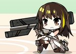 1girl assault_rifle brown_hair chibi commentary girls_frontline gun holding holding_weapon m4_carbine m4a1_(girls_frontline) multicolored_hair rifle self_upload solo streaked_hair weapon yun