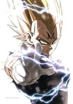 1boy aiming aiming_at_viewer aqua_eyes backlighting black_shirt blonde_hair commentary_request dragon_ball dragon_ball_z electricity frown gloves highres looking_at_viewer majin_vegeta male_focus morinokinoko_db muscle outstretched_arm serious shirt simple_background spiked_hair standing super_saiyan torn_clothes torn_shirt twitter_username upper_body vegeta veins white_background white_gloves