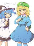 2girls :d apron blonde_hair blue_eyes blue_footwear blue_hair blue_skirt boots braid cabbie_hat cosplay costume_switch green_hat hat kawashiro_nitori kawashiro_nitori_(cosplay) key kirisame_marisa kirisame_marisa_(cosplay) long_sleeves multiple_girls nervous_smile open_mouth pouch rubber_boots sasa_kichi simple_background skirt smile standing sweat sweatdrop touhou translated twintails waist_apron white_apron white_background witch_hat yellow_eyes