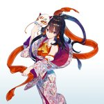 1girl ascot bangs bare_shoulders black_hair blue_background brown_eyes commentary_request detached_sleeves eyebrows_visible_through_hair feet_out_of_frame floral_print fox_mask gradient gradient_background hair_between_eyes hair_tubes hakurei_reimu hand_up holding holding_mask holding_ribbon japanese_clothes kimono long_hair long_sleeves looking_at_viewer mask obi off_shoulder red_ribbon red_sash ribbon sash sidelocks smile solo tassel touhou white_background wide_sleeves yellow_neckwear zounose
