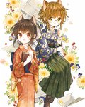 2girls :d androgynous animal_ears back_bow bangs book boots bow brown_hair cat_ears commentary_request cover cover_page floral_background floral_print genkou_youshi glasses green_eyes green_hakama hair_ornament hakama hand_up holding holding_book itou_hachi japanese_clothes kimono long_sleeves looking_at_viewer meiji_schoolgirl_uniform multiple_girls obi open_mouth original red_eyes red_kimono round_eyewear sash short_hair sidelocks sitting smile textless