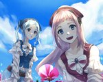 2girls bandana belt blue_eyes blue_hair blue_sky buttons cloud commentary_request danno_gs day felicia_(fire_emblem_if) fire_emblem fire_emblem_heroes fire_emblem_if flora_(fire_emblem_if) flower grey_eyes highres long_hair long_sleeves multiple_girls open_mouth outdoors pink_hair siblings sisters sky twintails