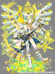 1girl ;) alternate_costume aqua_eyes blonde_hair grey_background guitar instrument ixima kagamine_rin looking_at_viewer magician_wiz_(game) one_eye_closed open_mouth short_hair shorts smile solo star vocaloid wings