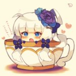 1girl :o azur_lane bangs blue_eyes blue_flower blue_gloves blush chibi cup eyebrows_visible_through_hair flower full_body gloves hair_flower hair_ornament hat heart illustrious_(azur_lane) in_container in_cup long_hair looking_at_viewer low_twintails mini_hat muuran open_mouth purple_flower signature silver_hair solo translation_request twintails very_long_hair white_hat