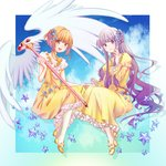 2girls bangs blonde_hair braid brown_eyes cardcaptor_sakura choker daidouji_tomoyo dress full_body hair_ornament highres holding holding_staff invisible_chair jewelry kinomoto_sakura long_dress long_hair long_sleeves looking_at_viewer multiple_girls necklace purple_eyes purple_hair shiny shiny_hair short_hair_with_long_locks sitting sleeveless sleeveless_dress staff star star_hair_ornament very_long_hair white_legwear yellow_dress yukino030yu_ri