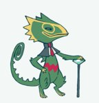 animated animated_gif clothed_pokemon commentary creature dancing diamond gen_3_pokemon glitchedpuppet grey_background hand_on_hip holding holding_scepter kecleon lowres necktie no_humans pokemon pokemon_(creature) scepter simple_background solo standing