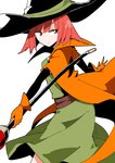 1girl bangs black_headwear cape dragon_quest dragon_quest_iii dress gloves green_dress hat holding holding_staff looking_away looking_to_the_side mage_(dq3) orange_cape orange_gloves red_eyes red_hair sash short_hair simple_background solo staff taniya_raku white_background wizard_hat