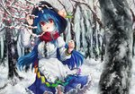 1girl bare_tree blue_hair blue_skirt blurry breath center_frills cowboy_shot day depth_of_field dqn_(dqnww) food forest frills fruit hand_up hat hinanawi_tenshi juliet_sleeves long_hair long_sleeves looking_at_viewer nature open_mouth outdoors peach petticoat puffy_sleeves red_eyes red_scarf scarf shirt skirt snow solo touhou tree very_long_hair white_shirt winter