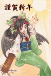 1girl :d alternate_costume arm_up artist_name bangs bird_wings black_hair black_wings bow brown_eyes control_rod eyebrows eyebrows_visible_through_hair feathered_wings feathers floral_print green_bow green_kimono hair_between_eyes hair_bow hair_ribbon hair_up high_ponytail highres index_finger_raised io_(maryann_blue) japanese_clothes kimono long_hair obi open_mouth pink_ribbon reiuji_utsuho ribbon sash smile solo third_eye touhou traditional_media wide_sleeves wings