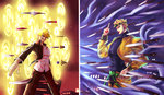 2boys absurdres blonde_hair dio_brando fate/stay_night fate_(series) gate_of_babylon gilgamesh highres hourinoki jacket jojo_no_kimyou_na_bouken knife multiple_boys season_connection yellow_jacket