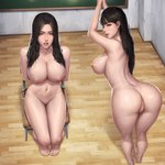2girls absurdres anus arms_behind_back arms_up ass back bangs bent_over black_hair blunt_bangs blush bound bound_arms bound_wrists breasts brown_eyes chair chalkboard classroom from_behind groin highres indoors kidmo large_breasts leaning_forward lips long_hair looking_at_viewer looking_back multiple_girls navel nipples nose nude original paid_reward parted_bangs patreon_reward pussy restrained shiny shiny_skin shoulder_blades sitting stomach thighs tied_up toenails toes uncensored wooden_floor