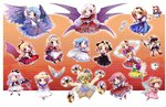 6+girls alice_margatroid angel_wings apron ayana_(touhou) bakebake bare_shoulders beads black_headwear blonde_hair blue_eyes blue_hair bow capelet card cat demon_girl demon_tail demon_wings earrings elis_(touhou) extra facepaint fairy_wings fang fingerless_gloves fist_pump gloves green_eyes grey_eyes hair_beads hair_bow hair_ornament hair_ribbon hairband hat jewelry looking_at_viewer looking_to_the_side luize magic_circle mai_(touhou) maid maid_apron maid_headdress mirror multiple_girls muutzi neckerchief one_eye_closed open_mouth orange_eyes pink_eyes pink_hair playing_card pointing pointing_at_viewer pointy_ears ponytail purple_eyes purple_hair red_eyes rengeteki ribbon sandals sara_(touhou) sariel shanghai_doll shinki side_ponytail silver_hair staff star striped striped_legwear sword tail thumbs_up touhou touhou_(pc-98) trump_king wand wayousei_(touhou) weapon white_hair white_headwear wings yellow_eyes yuki_(touhou) yumeko yuugenmagan