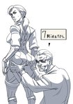 1boy 1girl albert_wesker ass ass_grab bodysuit diepod gloves grin jill_valentine long_hair ponytail resident_evil resident_evil_5 sketch smile standing sunglasses