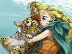 1girl bianca blonde_hair blue_eyes borongo braid cape cat colmack dragon_quest dragon_quest_v earrings hug jewelry long_hair open_mouth smile yellow_eyes