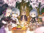 3girls :o ahoge animal apple arm_belt assassin_of_black banana bandaged_arm bandages bangs basket bell black_bodysuit black_bow black_capelet black_dress black_hat black_jacket black_ribbon blue_eyes blurry blurry_foreground blush bodysuit bottle bow brown_belt bunny cake cantaloupe capelet cherry_blossoms clothed_animal commentary_request cup depth_of_field dress eyebrows_visible_through_hair fate/apocrypha fate/extra fate_(series) food fork fruit fur-trimmed_capelet grapes hair_between_eyes hat headpiece holding holding_fork holding_plate jacket jeanne_d'arc_(fate)_(all) jeanne_d'arc_alter_santa_lily long_hair long_sleeves looking_at_another multiple_girls nursery_rhyme_(fate/extra) open_mouth outdoors outstretched_arm parted_lips petals plate puffy_long_sleeves puffy_sleeves purple_eyes red_apple ribbon saucer scar scar_across_eye scar_on_cheek short_hair shoulder_tattoo silver_hair sleeveless slice_of_cake slit_pupils strawberry_shortcake striped striped_bow striped_ribbon sweat table tattoo teacup teapot tears tree v-shaped_eyebrows white_capelet white_dress yasuyuki yellow_eyes