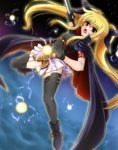 1girl arm_strap bardiche blonde_hair cape diesel-turbo fate_testarossa gloves long_hair lyrical_nanoha magical_girl mahou_shoujo_lyrical_nanoha mahou_shoujo_lyrical_nanoha_the_movie_1st red_eyes skirt solo thighhighs twintails