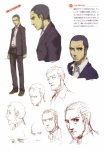 1boy absurdres alternate_hairstyle artbook cigarette concept_art doujima_ryoutarou facial_hair highres male_focus necktie official_art persona persona_4 scan sketch soejima_shigenori stubble