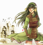 1girl armor avatar:_the_last_airbender avatar_(series) chinese_clothes grey_eyes hair_down hairband kellylee long_hair older smile solo toph_bei_fong