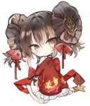 1girl bangs bare_shoulders bow brown_eyes brown_hair chibi china_dress chinese_clothes closed_mouth commentary_request detached_sleeves double_bun dress eyebrows_visible_through_hair frilled_sleeves frills full_body girls_frontline hair_between_eyes hair_bow head_tilt kotatu_(akaki01aoki00) long_sleeves pelvic_curtain qbz-97_(girls_frontline) red_bow red_dress red_sleeves seiza side_bun simple_background sitting sleeveless sleeveless_dress sleeves_past_fingers sleeves_past_wrists smile solo star thighhighs white_background white_legwear