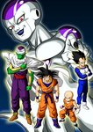 5boys :d >:d absurdres armor bald black_hair boots cape clenched_hands crossed_arms dragon_ball dragon_ball_z frieza green_skin highres kuririn looking_at_viewer multiple_boys muscle open_mouth piccolo red_eyes serious shinomiya_akino smile son_gokuu spiked_hair vegeta white_skin