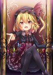 1girl :d alternate_costume beckoning black_background black_hat black_legwear black_shirt blonde_hair blurry breasts choker collared_shirt commentary_request cross crossed_legs depth_of_field eyebrows_visible_through_hair fang feet_out_of_frame fingernails flandre_scarlet flower frilled_shirt frilled_sleeves frills gem gradient gradient_background hair_between_eyes hand_rest hat hat_ribbon high-waist_skirt highres long_sleeves looking_at_viewer mob_cap neck_ribbon open_mouth pantyhose purple_background purple_ribbon red_eyes red_flower red_neckwear red_ribbon red_rose red_skirt renka_(cloudsaikou) ribbon rose sharp_fingernails shirt short_hair side_ponytail skirt skull slit_pupils small_breasts smile solo standing throne tongue torn_ribbon touhou wings yellow_choker