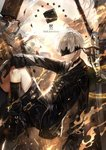 1boy black_blindfold black_choker black_footwear black_gloves black_jacket black_legwear black_shorts blindfold boots brown_background choker commentary_request copyright_name from_side gloves highres jacket long_sleeves machine male_focus nier_(series) nier_automata parted_lips profile shorts solo tsugutoku white_hair yellow_background yorha_no._9_type_s