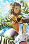 1girl absurdres aqua_eyes aqua_hair armband bare_arms bare_shoulders bird black_hair blue_eyes blue_sky bun_cover closed_mouth cloud cup dark_skin day drinking_straw earrings floating_hair gen_3_pokemon gen_8_pokemon gloves gym_leader hair_bun hair_ornament highres holding holding_cup hoop_earrings jewelry kurisustinah lips long_hair looking_at_viewer makeup midriff multicolored_hair open_mouth outdoors pendant pokemon pokemon_(creature) pokemon_(game) pokemon_swsh rurina_(pokemon) seagull shorts sidelocks sky smile sobble solo_focus sports_bra sportswear stomach twisted_torso two-tone_hair wingull