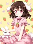 1girl :3 >_< animal_ears brown_hair bunny bunny_ears bunny_tail carrot carrot_necklace dress eyebrows_visible_through_hair floppy_ears highres inaba inaba_tewi looking_at_viewer medium_hair petting pink_dress red_eyes ribbon-trimmed_dress ruu_(tksymkw) sitting smile solo tail touhou x3
