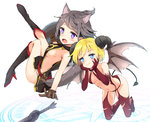 2girls animal_ears bangs bare_arms bare_shoulders black_dress black_footwear blonde_hair blue_eyes blush boots breasts brown_gloves brown_wings cat_ears cat_girl cat_tail closed_mouth commentary_request curled_horns demon_girl demon_horns demon_tail demon_wings dress elbow_gloves eyebrows_visible_through_hair fang gloves grey_hair hands_on_own_cheeks hands_on_own_face high_heel_boots high_heels highres holding holding_shield horns knee_boots kutata looking_at_viewer looking_to_the_side medium_breasts multiple_girls navel open_mouth original pouch purple_eyes red_footwear red_gloves red_legwear revealing_clothes sheath shield side_slit sideboob sleeveless sleeveless_dress small_breasts succubus sword tail the_elder_scrolls the_elder_scrolls_v:_skyrim thigh_boots thighhighs weapon white_background wings