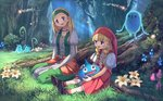 2girls :d bangs blonde_hair blue_eyes blunt_bangs braid brown_footwear dragon_quest dragon_quest_xi dress earrings eyebrows_visible_through_hair flower forest grass green_dress hat headband highres jewelry juliet_sleeves long_sleeves multiple_girls mushroom nature necklace open_mouth orange_legwear outdoors pearl_necklace pippi_(pixiv_1922055) puffy_sleeves red_hat red_skirt senya_(dq11) shoes sitting skirt slime_(dragon_quest) smile socks tree twin_braids veronica_(dq11) white_flower