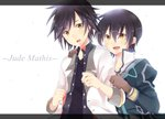 2boys black_hair black_shirt brown_eyes brown_gloves character_name dual_persona gloves green_jacket jacket jude_mathis long_sleeves male_focus multiple_boys open_mouth puffy_sleeves rento_(rukeai) shirt simple_background sleeves_rolled_up smile spiked_hair tales_of_(series) tales_of_xillia tales_of_xillia_2 white_background white_jacket