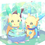alternate_color food fuwasn1545 gen_3_pokemon highres ice_cream minun no_humans one_eye_closed open_mouth pokemon pokemon_(creature) shiny_pokemon smile sparkling_eyes tongue tongue_out