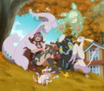 1girl animal animal_on_lap autumn bare_shoulders black_boots blue_sky boots brown_hair building cloud danzilla dark_skin from_below goodra jewelry lipstick long_hair luxray makeup mienshao multicolored_hair necklace one_eye_closed outdoors poke_ball pokemon purple_hair reuniclus shorts sitting sky slime sylveon tree umbreon very_long_hair