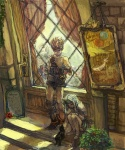 1girl 2boys ^_^ alcohol bare_shoulders black_cat blank blonde_hair blue_hair buckle cat cinna closed_eyes closed_mouth collarbone cup curtains drink drinking_glass facial_scar final_fantasy final_fantasy_ix flower full_body green_skirt holding holding_cup indoors knees_on_chest knees_up long_hair marcus miniskirt multiple_boys no_socks petting plant pleated_skirt potted_plant puffy_short_sleeves puffy_sleeves red_flower red_rose rose ruby_(ff9) scar shoes short_sleeves shoulder_belt sign sitting skirt smile spiked_hair stairs sumi_(nd60) white_footwear window wine wine_glass zidane_tribal