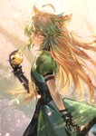 1girl ahoge animal_ears atalanta_(fate) azomo backlighting bangs braid breasts cat_ears cat_tail closed_mouth commentary_request fate/apocrypha fate_(series) french_braid gauntlets golden_apple gradient_hair green_eyes green_hair hair_between_eyes highres long_hair looking_at_viewer multicolored_hair puffy_short_sleeves puffy_sleeves short_sleeves solo tail two-tone_hair