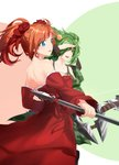 2girls absurdres anna_(epic_battle_fantasy) bauble blue_eyes bow_(weapon) bow_dress breasts camouflage camouflage_jacket camouflage_skirt detached_sleeves diamond_earrings dress earrings epic_battle_fantasy eyebrows_visible_through_hair gown green_eyes green_hair hair_ribbon hand_on_forehead highres holding holding_bow_(weapon) holding_staff holding_weapon jewelry large_breasts medium_breasts multiple_girls natalie_(epic_battle_fantasy) one_eye_covered orange_hair ponytail red_dress red_ribbon ribbon saya_species shoulder_blades skirt staff strapless strapless_dress twintails weapon white_background