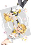 1boy 1girl arami_o_8 arrow black_sleeves blonde_hair bow collarbone commentary detached_sleeves feet_out_of_frame fortissimo graphic_equalizer green_eyes grey_collar grey_sleeves hair_bow hair_ornament hairclip headphones heart index_finger_raised kagamine_len kagamine_rin koi_dance neck_ribbon necktie pants polyhedron ponytail ribbon rotational_symmetry sailor_collar see-through see-through_sleeves shirt short_hair short_shorts shorts shoulder_tattoo smile symbol_commentary symmetry tattoo vocaloid white_bow white_shirt yellow_neckwear yellow_ribbon