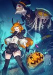 1girl aqua_eyes blonde_hair candy cape costume crown food ghost graveyard hair_ornament hairclip halloween halloween_basket halloween_costume happy_halloween hat highres horns jack-o'-lantern kusano_shinta lollipop original pumpkin pumpkin_hat thighhighs trick_or_treat witch witch_hat