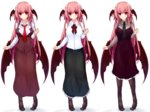 1girl black_dress black_skirt breasts clenched_hand collared_shirt commentary_request demon_wings dress green_skirt head_wings koakuma large_breasts light_smile long_hair long_skirt long_sleeves looking_at_viewer necktie pandamonium pantyhose pout red_eyes red_hair red_necktie shirt simple_background skirt standing touhou variations very_long_hair white_background wing_collar wings